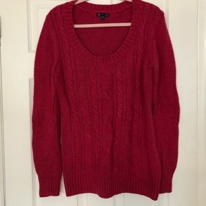 GAP cable knit scoop neck pink sweater large